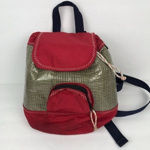 ReSails red recycled sails mini backpack pockets